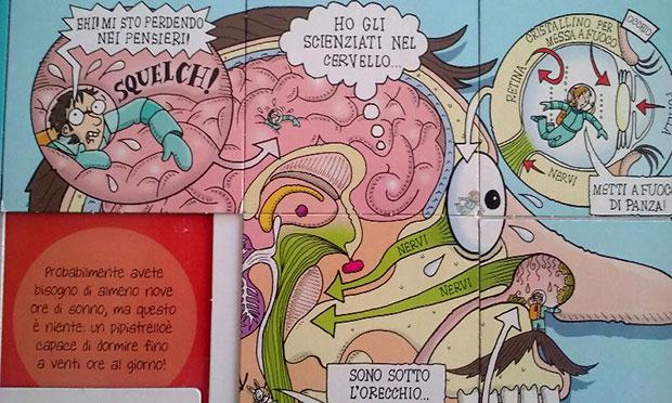 Una pagina interna del libro «Ossa, trippe, budella», con i giochi