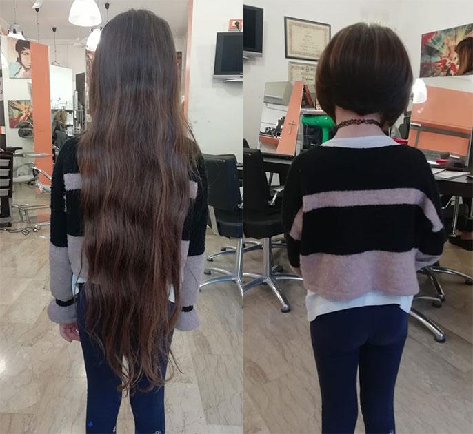 Mavì Borrelli con i capelli lunghi e dopo il suo generoso gesto di altruismo.
